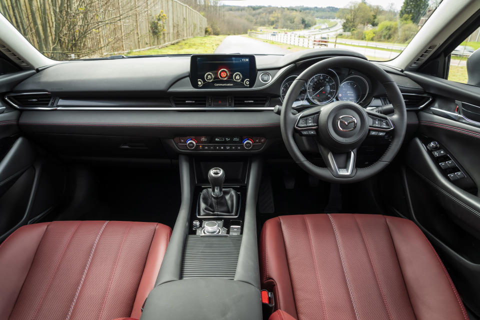 Red leather seats give the Mazda6's cabin a premium feel