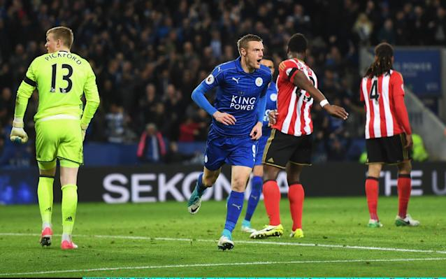<span>Jamie Vardy wheels away after doubling Leicester's lead</span> <span>Credit: Getty images </span>