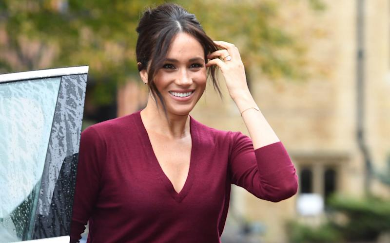 Meghan, Duchess of Sussex arriving at a roundtable discussion on gender equality with The Queens Commonwealth Trust (QCT) and One Young World at Windsor Castle in October 2019 - AFP
