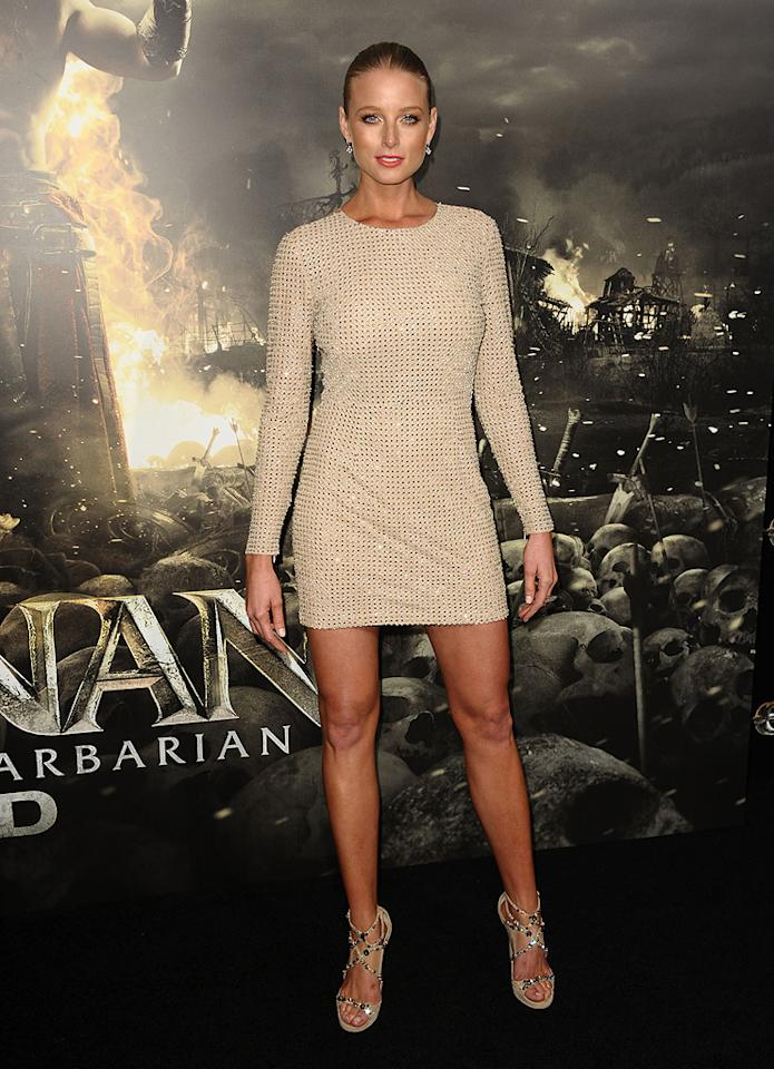 """<a href=""""http://movies.yahoo.com/movie/contributor/1807799855"""">Rachel Nichols</a> at the Los Angeles premiere of <a href=""""http://movies.yahoo.com/movie/1809953260/info"""">Conan the Barbarian</a> on August 11, 2011."""