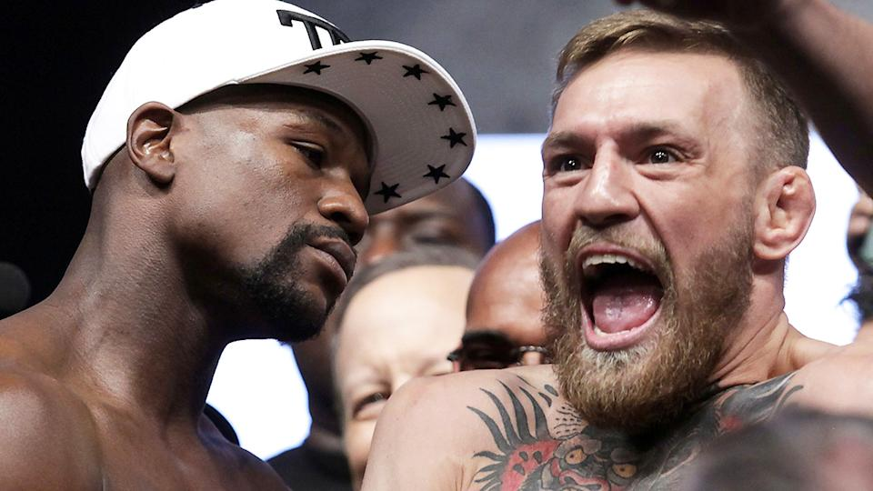 Floyd Mayweather has fired a verbal shot at UFC fighter Conor McGregor after the Irishman's shock UFC 257 loss to Dustin Poirer. (JOHN GURZINSKI/AFP via Getty Images)