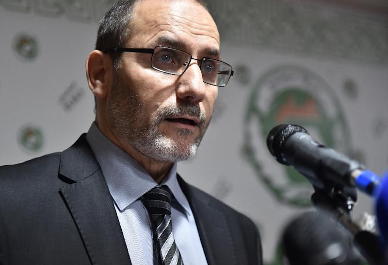 Abderrazak Makri, general secretary for Algeria's Movement for the Society of Peace, speaks during a press conference in May 2017