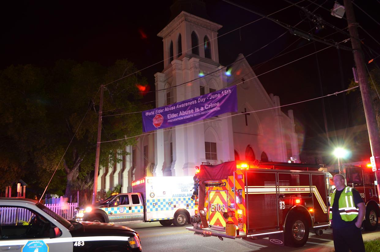 Police, ambulance and fire crews outside the Emanuel African Methodist Episcopal Church following the mass shooting in Charleston, S.C., in June 2014. (Photo: Charleston Police Department/Handout via Reuters)