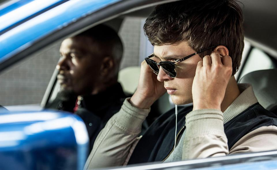 Jamie Foxx and Ansel Elgort in Baby Driver, 2017.