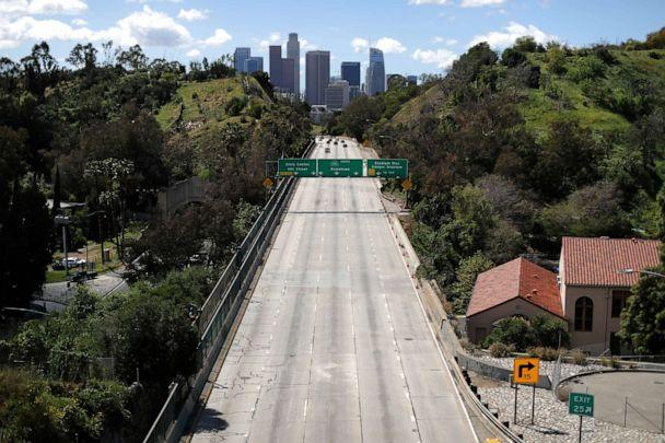 PHOTO: The 110 freeway leading into downtown Los Angeles is emptier than usual after California issued a stay-at-home order due to coronavirus disease (COVID-19) in Los Angeles, March 23, 2020. (Lucy Nicholson/Reuters)