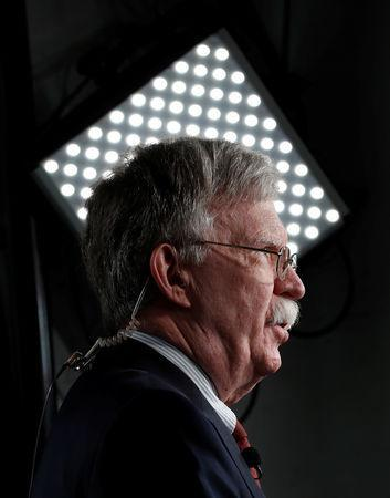 White House national security adviser John Bolton speaks in front of a TV camera at the White House in Washington, U.S., May 1, 2019. REUTERS/Kevin Lamarque