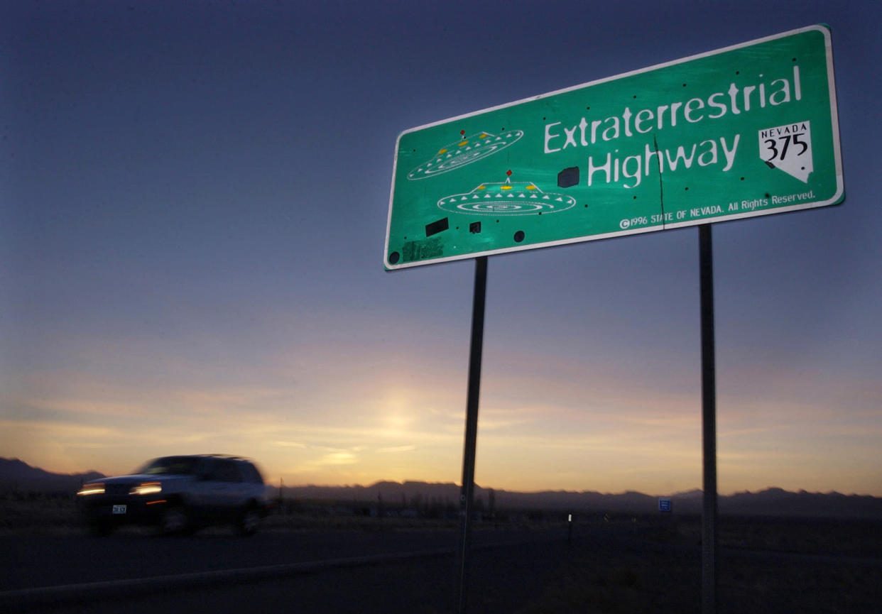 A car moves along the Extraterrestrial Highway near Rachel, Nev., the closest town to Area 51. (Photo: Laura Rauch/AP)