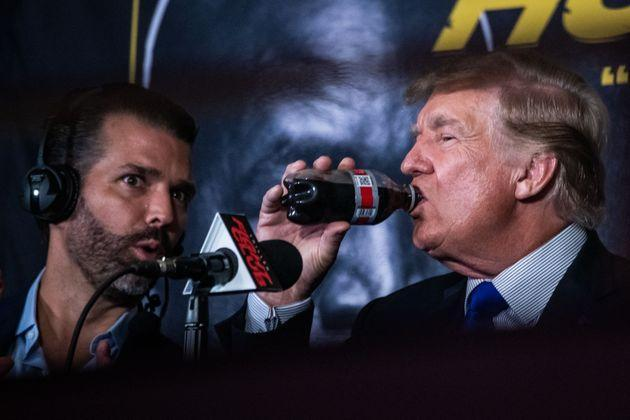 Donald Trump and Donald Trump Jr. moonlighted as boxing analysts. (Photo: CHANDAN KHANNA via Getty Images)