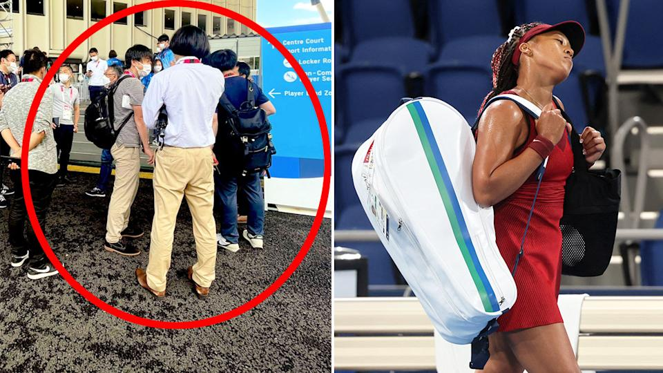 Naomi Osaka was in no mood to speak with the waiting media after her Olympic Games heartbreak. Pic: Twitter/Getty