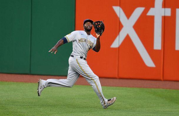 PHOTO: Lorenzo Cain of the Milwaukee Brewers in action during the game against the Pittsburgh Pirates at PNC Park on July 28, 2020, in Pittsburgh, Pa. (Joe Sargent/Getty Images)