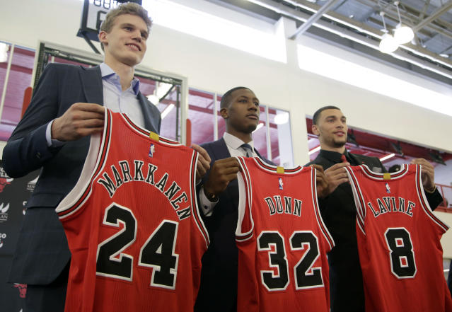 The Bulls appear to have stumbled on an excellent core with Lauri Markkanen, Kris Dunn and Zach LaVine. (AP)