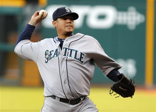 Seattle Mariners starting pitcher Felix Hernandez throws against the Cleveland Indians during the first inning of a baseball game in Cleveland on Wednesday, May 16, 2012. (AP Photo/Amy Sancetta)