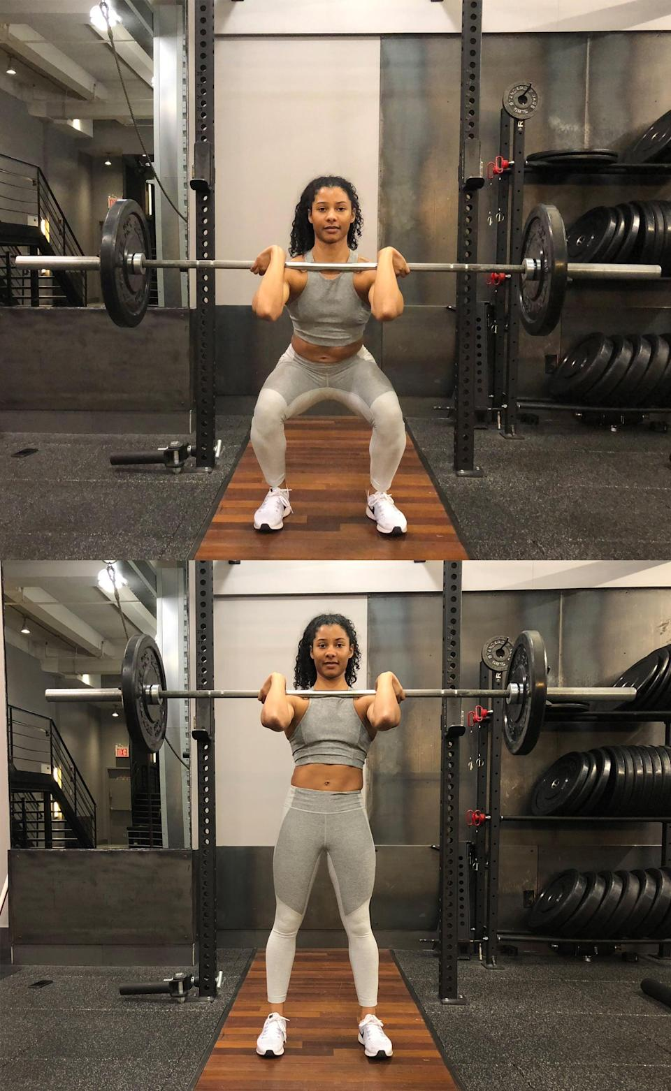 <ul> <li>Start with a loaded barbell; 65 to 75 pounds is a great starting point. Beginners should start with just the barbell, gradually adding weight as they become familiar with the movement.</li> <li>Position your hands about shoulder-width apart on the barbell and lightly grip the bar.</li> <li>Rest the bar on your clavicle and shoulders as you lift your elbows up. Your elbows should go as high as your mobility allows.</li> <li>With your feet about hip-distance apart, lift the barbell off the rack. Take 1 to 2 steps backwards.</li> <li>Shift your weight back into your heels. Brace your abs as you begin to lower into a squat, keeping your head and back straight. Your knees should be as close to 90 degrees as possible.</li> <li>With your core still braced, drive through your heels to stand back up. Be sure to squeeze your glutes at the top of your squat.</li> <li>That's one rep.</li> <li>Do three sets of 8.</li> </ul>
