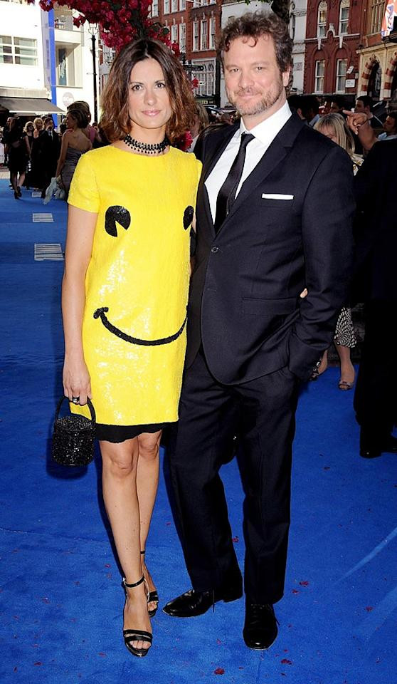 "Colin Firth looks fine, but his producer wife Livia Giuggioli is a laughing stock in her smiley face mess of a dress at the ""Mamma Mia!"" premiere in London. Dave M. Benett/<a href=""http://www.gettyimages.com/"" target=""new"">GettyImages.com</a> - June 30, 2008"
