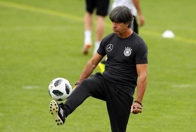 Soccer Football - FIFA World Cup - Germany Training - Eppan, Italy - May 24, 2018 Germany coach Joachim Loew during training REUTERS/Leonhard Foeger
