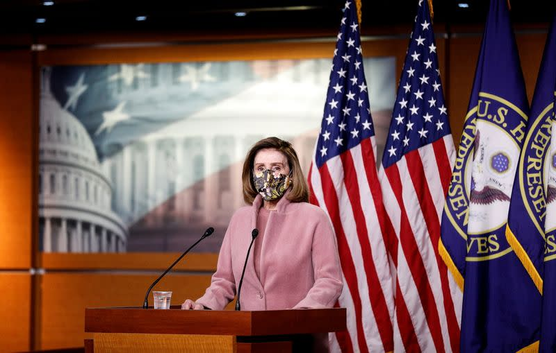 House Speaker Pelosi holds news conference on Capitol Hill in Washington