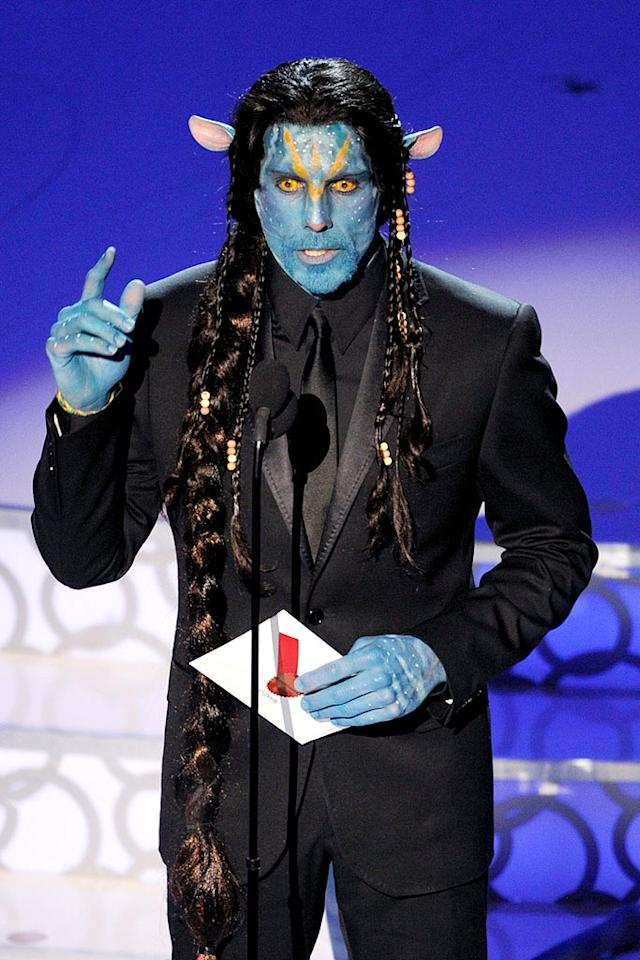 "Presenter Ben Stiller fell flat at the Oscars with his unfunny ""Avatar"" Na'vi impersonation. Don't worry Ben, I heard that the Blue Man Group is hiring. Michael Caulfield/<a href=""http://www.wireimage.com"" target=""new"">WireImage.com</a> - March 7, 2010"