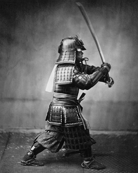 A photograph taken around 1860 showing a Samurai in full armor with sword. Within two decades of this photo being taken the Samurai would effectively be abolished and Japan would move to a conscript army that would largely consist of peasants.