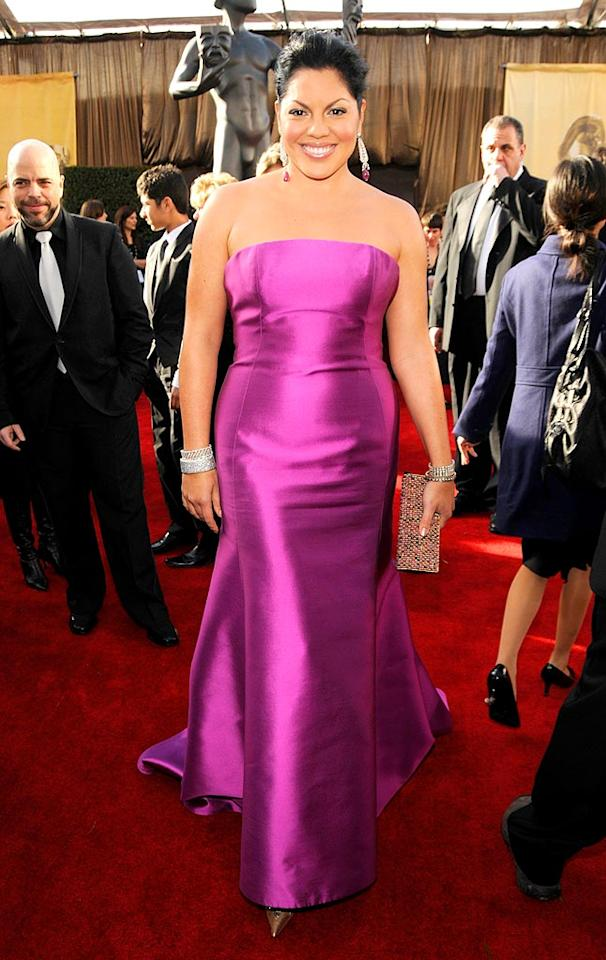 "Sara Ramirez is anything but 'grey' in her strapless magenta gown and matching amethyst drop earrings. Kevin Mazur/<a href=""http://www.wireimage.com"" target=""new"">WireImage.com</a> - January 27, 2008"
