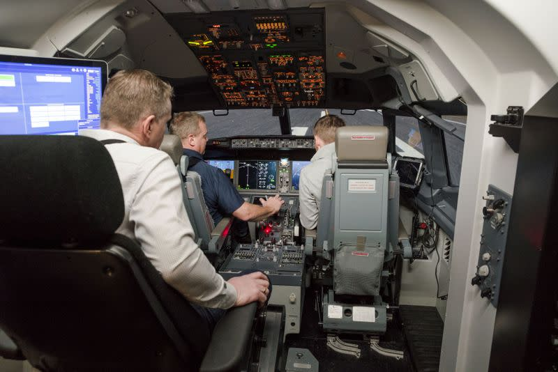 An inside view of the Icelandair Boeing 737 MAX training simulator in the TRU Flight Training Iceland in Reykjavik