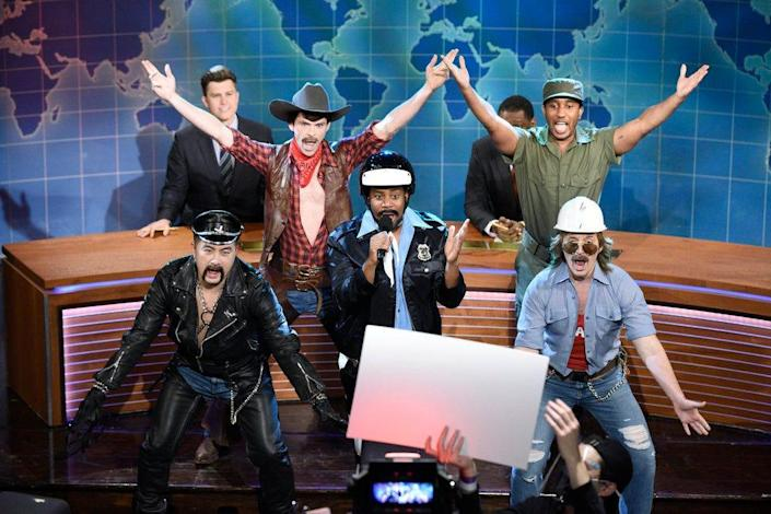 """Bowen Yang (from front left), Mikey Day, Kenan Thompson, Chris Redd, and Beck Bennett play the Village People on """"Saturday Night Live."""""""