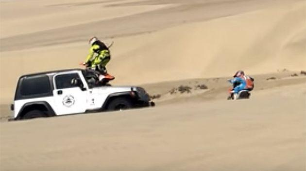 The side-on angle shows the contact between bike and car. Pic: YouTube/desert bikes