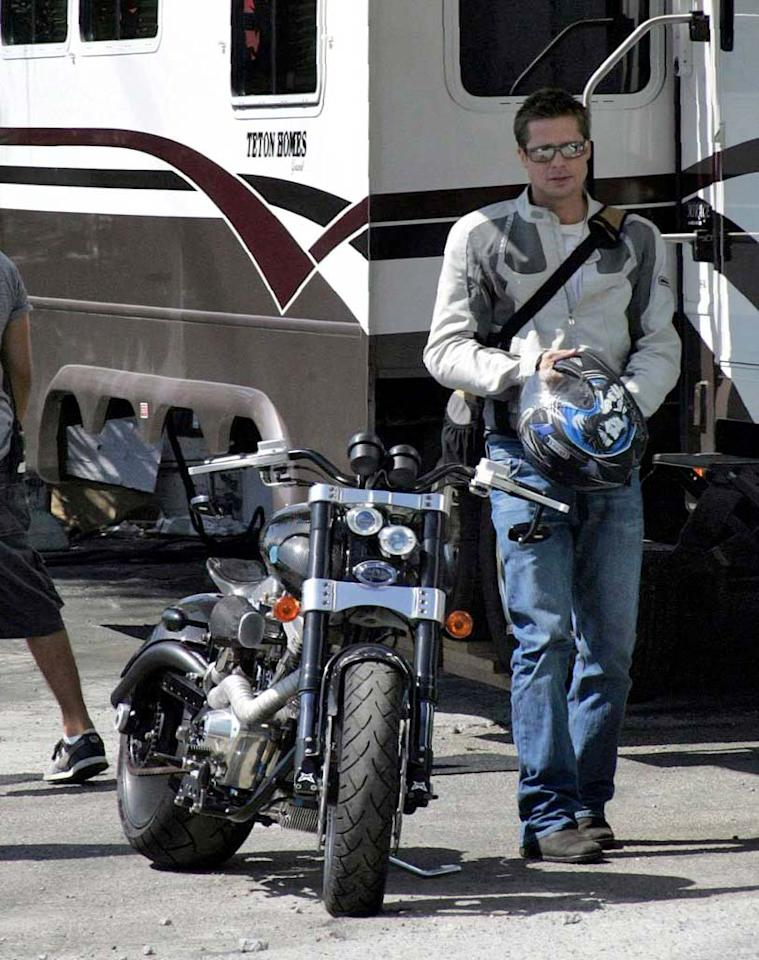 """Brad Pitt arrives to the set of """"Ocean's Thirteen"""" via motorcycle. We wonder if he still gets to ride now that he's a family man. <a href=""""http://www.x17online.com"""" target=""""new"""">X17 Online</a> - August 2, 2006"""
