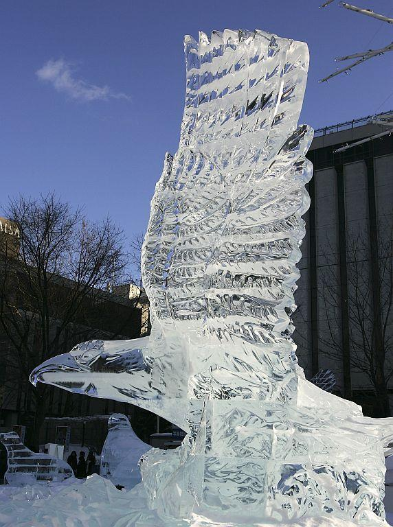 An ice sculpture of an eagle is displayed at Odori Koen during the 57th Sapporo Snow Festival in 2006 in Sapporo, Hokkaido, Japan.