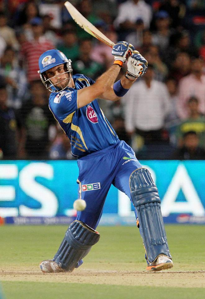 Mumbai Indian player Glenn Maxwell plays a shot during match 58 of the Pepsi Indian Premier League ( IPL) 2013  between The Pune Warriors India and the Mumbai Indians held at the Subrata Roy Sahara Stadium, Pune on the 11th May 2013. (BCCI)