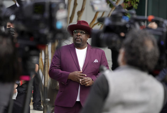 Cedric the Entertainer, host of Sunday's 73rd Primetime Emmy Awards, waits to take the stage during the show's Press Preview Day, Wednesday, Sept. 14, 2021, at the Television Academy in Los Angeles. The awards show honoring excellence in American television programming will be held at the Event Deck at L.A. Live. (AP Photo/Chris Pizzello)