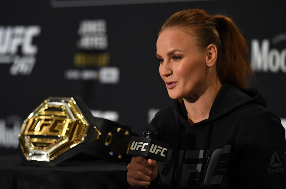 HOUSTON, TEXAS - FEBRUARY 06: Valentina Shevchenko of Kyrgyzstan interacts with media during the UFC 247 Ultimate Media Day at the Crowne Plaza Houston River Oaks on February 06, 2020 in Houston, Texas. (Photo by Josh Hedges/Zuffa LLC)
