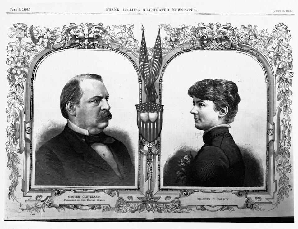 El presidente Grover Cleveland con su esposa en esta ilustración de 1886. (Photo by Library of Congress/Corbis/VCG via Getty Images)