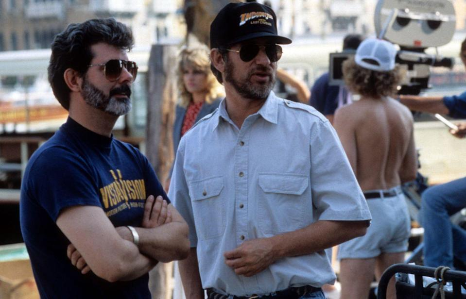 <p>Lucas and Spielberg on set of <em>Indiana Jones And The Last Crusade</em>.</p>