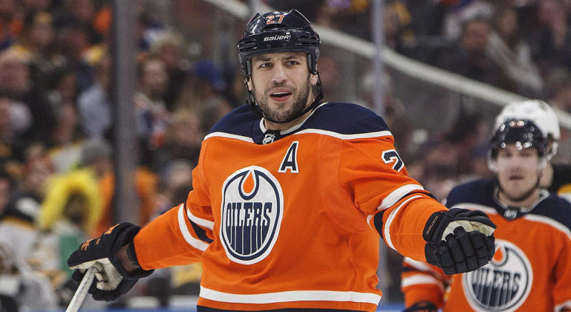 Edmonton Oilers' Milan Lucic (27) reacts to a call from the referee while playing against the Boston Bruins during third period NHL action in Edmonton, Alta., on Tuesday February 20, 2018. THE CANADIAN PRESS/Jason Franson
