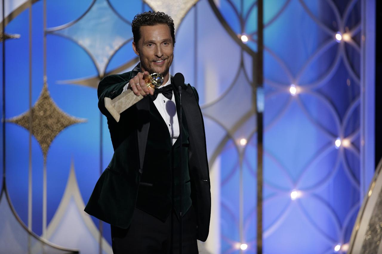 "Matthew McConaughey, Best Actor in a Motion Picture, Drama, for ""Dallas Buyers Club"" accepts his award during the 71st annual Golden Globe Awards in Beverly Hills, California January 12, 2014. REUTERS/Paul Drinkwater/NBCUniversal/Handout (UNITED STATES) (Tags: Entertainment)(GOLDENGLOBES-SHOW) ATTENTION EDITORS - THIS IMAGE WAS PROVIDED BY A THIRD PARTY. FOR EDITORIAL USE ONLY. NOT FOR SALE FOR MARKETING OR ADVERTISING CAMPAIGNS. ALL NBCUNIVERSAL PHOTOGRAPHS ARE COPYRIGHTED MATERIAL. IMAGES ARE NOT TO BE ARCHIVED, ALTERED, DUPLICATED, RESOLD, RETRANSMITTED OR USED FOR ANY OTHER PURPOSE, WITHOUT WRITTEN PERMISSION OF NBCUNIVERSAL. ANY COMMERCIAL OR PROMOTIONAL USE OF NBCUNIVERSAL CONTENT REQUIRES NBCUNIVERSAL'S PRIOR WRITTEN CONSENT. NO BOOK PUBLISHING WITHOUT PRIOR APPROVAL. COPYRIGHT NBCUNIVERSAL MEDIA, LLC MUST BE CREDITED. THIS PICTURE IS DISTRIBUTED EXACTLY AS RECEIVED BY REUTERS, AS A SERVICE TO CLIENTS. NO ARCHIVES. THIS IMAGE HAS BEEN SUPPLIED BY A THIRD PARTY. IT IS DISTRIBUTED, EXACTLY AS RECEIVED BY REUTERS, AS A SERVICE TO CLIENTS"