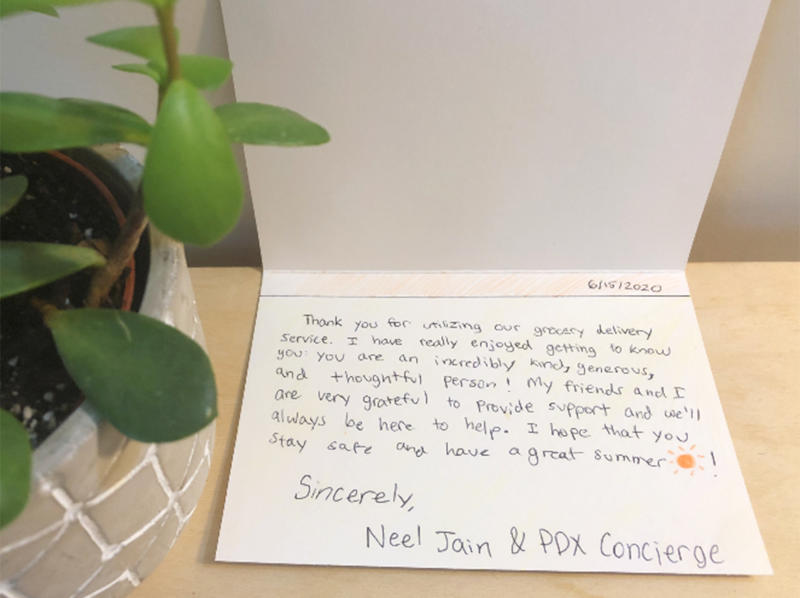 Handwritten notes from Neel Jain and his team of volunteer teenagers are meant to encourage seniors who are self-isolating. (Courtesy of Neel Jain)