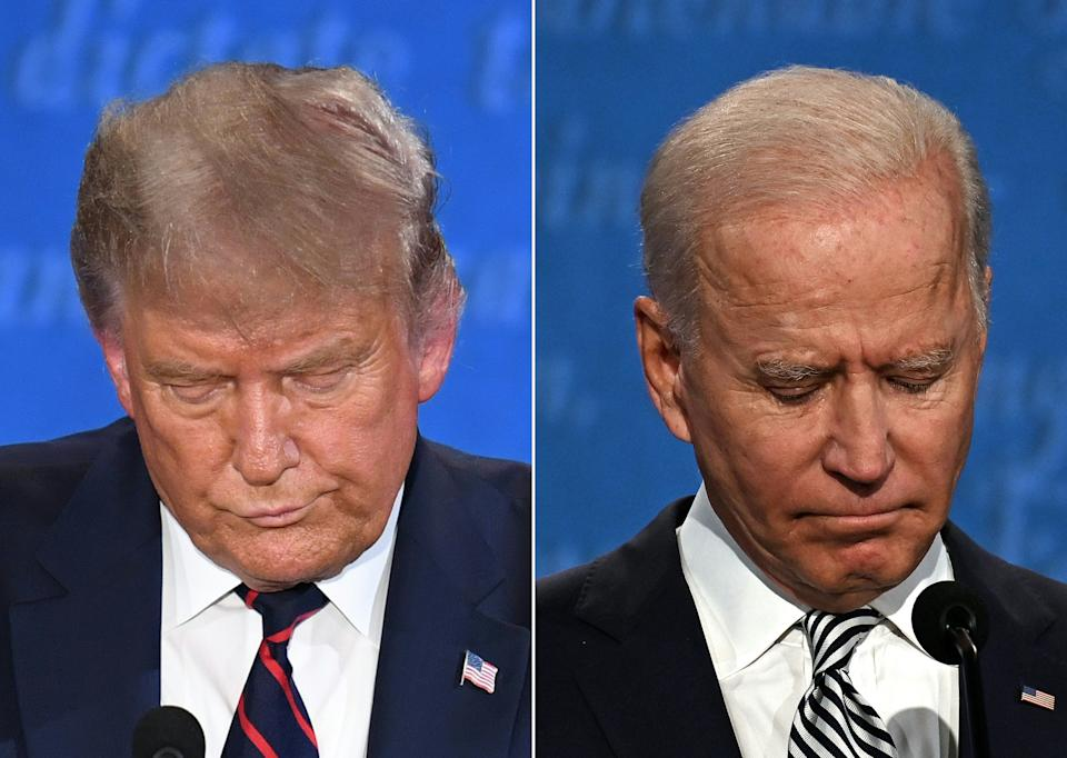 (COMBO) This combination of pictures created on September 29, 2020 shows US President Donald Trump (L) and Democratic Presidential candidate and former US Vice President Joe Biden during the first presidential debate at Case Western Reserve University and Cleveland Clinic in Cleveland, Ohio, on September 29, 2020. (Photos by SAUL LOEB and JIM WATSON / AFP) (Photo by SAUL LOEB,JIM WATSON/AFP via Getty Images)