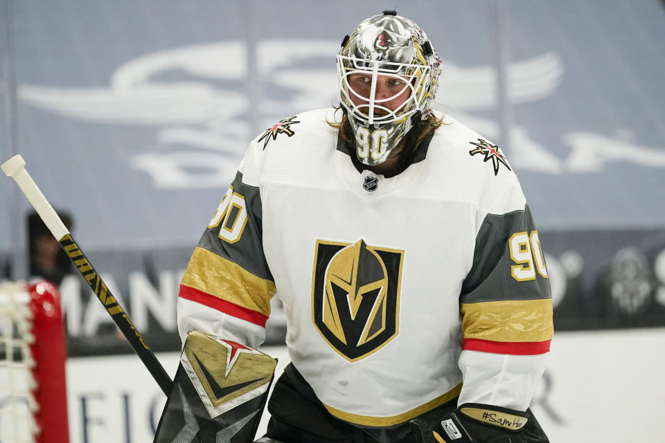 FILE - In this Friday, April 16, 2021, file photo, Vegas Golden Knights goaltender Robin Lehner (90) skates during an NHL hockey game against the Anaheim Ducks in Anaheim, Calif. Vegas goaltender Robin Lehner's messages about mental health have brought the topic to the forefront among hockey players before the Stanley Cup Final gets underway. An expert with experience in mental health with athletes says hockey is lagging behind other sports in making it a priority for players, coaches and staff.(AP Photo/Ashley Landis, File)