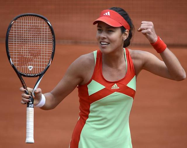 Serbia's Ana Ivanovic reacts after winning first set to Italy's Sara Errani hits a return to during their Women's Singles 3rd Round tennis match of the French Open tennis tournament at the Roland Garros stadium, on June 1, 2012 in Paris. AFP PHOTO / PASCAL GUYOTPASCAL GUYOT/AFP/GettyImages