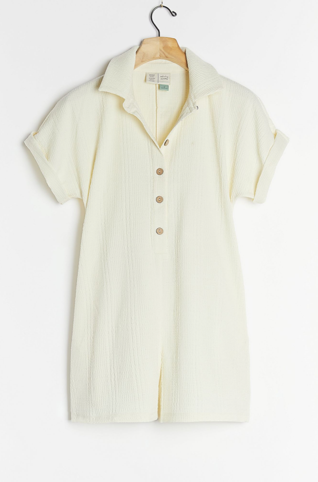 Saturday/Sunday Michaela Textured Henley Romper (Photo via Anthropologie)