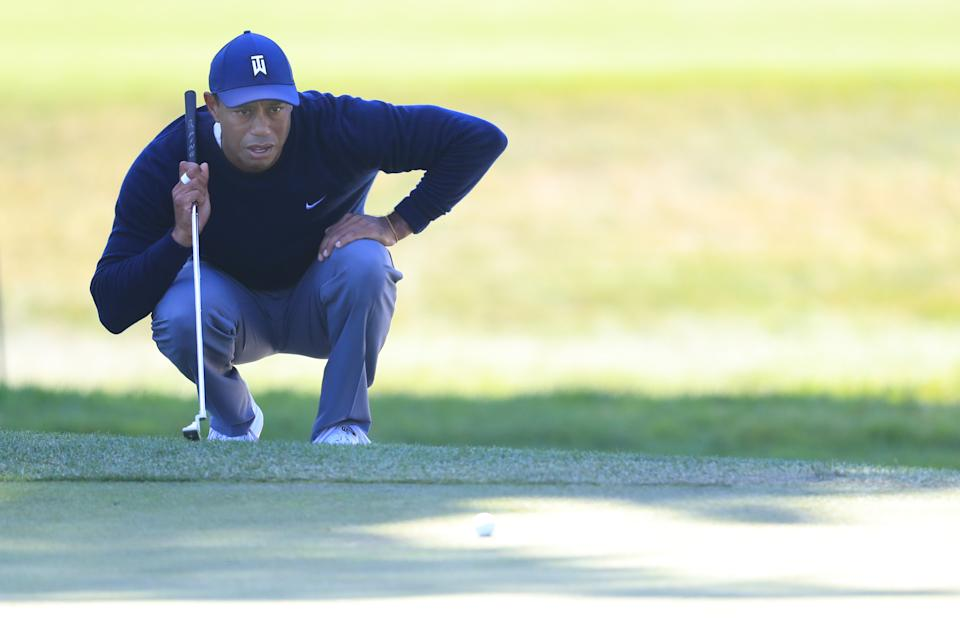 Tiger Woods had a tough day in Round 2 of the PGA Championship. (Photo by Tom Pennington/Getty Images)