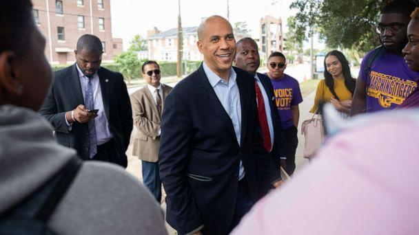 PHOTO: Senator Cory Booker, a Democrat from New Jersey and 2020 presidential candidate, center, speaks with students during the Second Step Presidential Justice Forum at Benedict College in Columbia, S.C., Oct. 26, 2019. (Logan Cyrus/Bloomberg via Getty Images)