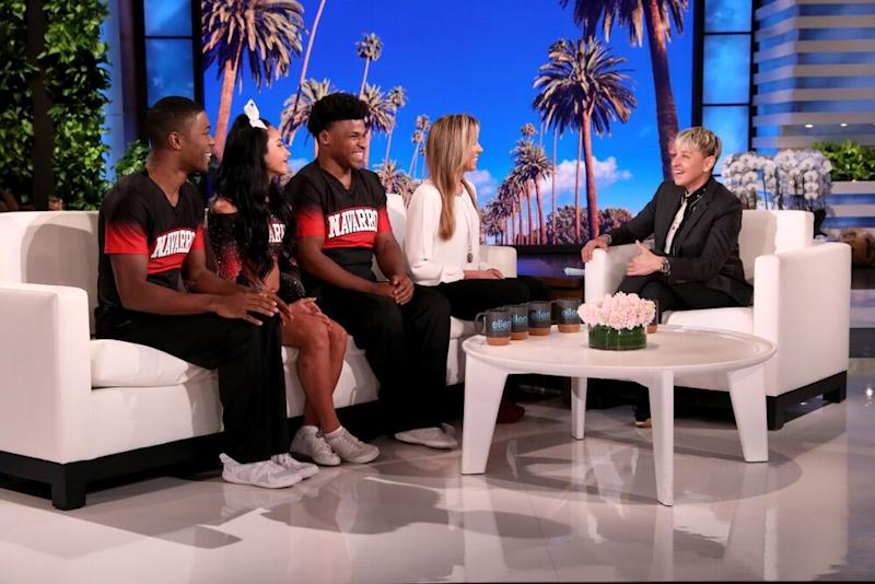 Jerry Harris and his teammates on The Ellen DeGeneres Show | Michael Rozman/Warner Bros.