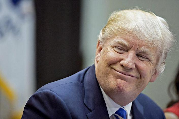 President Trump smiles during a meeting with women small business owners in the Roosevelt Room of the White House in March 2017. (Photo: Andrew Harrer-Pool/Getty Images)