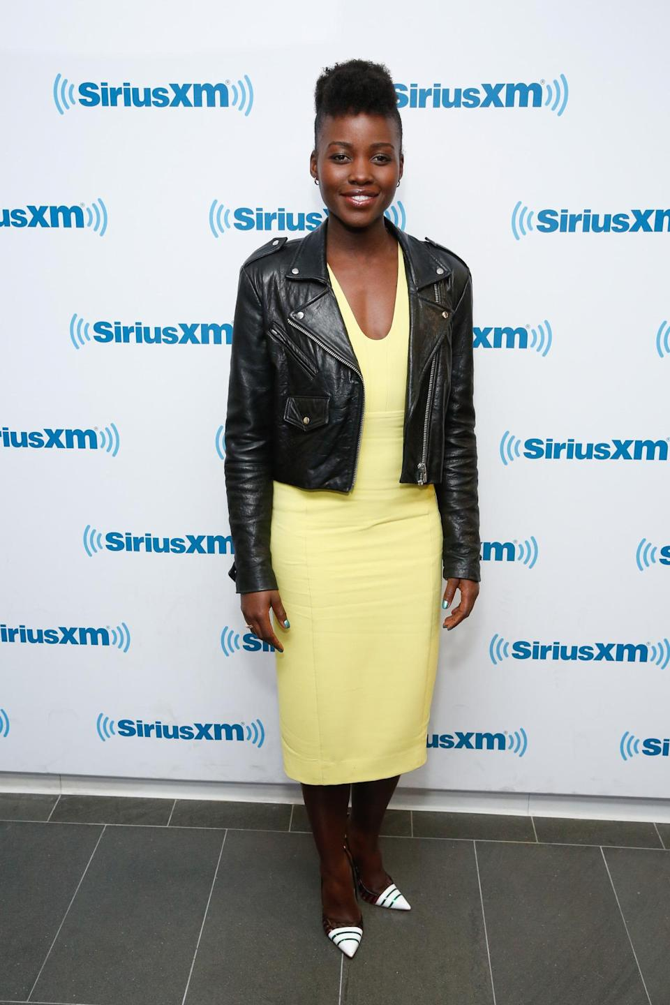 <p>Nyong'o once again proved that a little leather jacket is the most versatile piece a woman can own. </p><p><i>(Photo: Getty Images)</i><br></p>