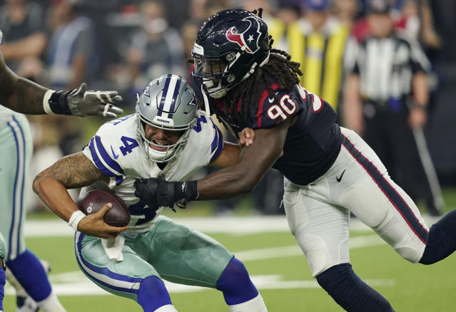 Houston Texans linebacker Jadeveon Clowney sacks Dak Prescott in a game against the Cowboys last season. (AP)