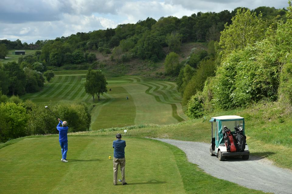 Players at Llanymynech Golf Club, Oswestry, where the course crosses the border of England and Wales. The course faces uncertainty as lockdown restrictions on golf are lifted in England from today, but remain in force in Wales.