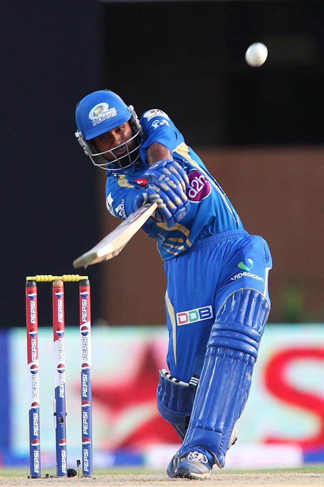Ambati Rayudu hits a delivery from Sandeep Sharma for four during match 69 of the Pepsi Indian Premier League between The Kings XI Punjab and the Mumbai Indians held at the HPCA Stadium in Dharamsala, Himachal Pradesh, India on the on the 18th May 2013. (BCCI)
