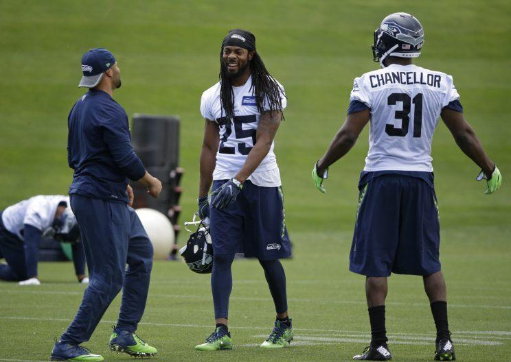 Richard Sherman is no longer on the trading block for the Seahawks. It was unclear why he was there in the first place. (AP)