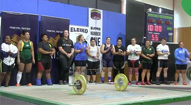 Laurel, pictured fourth from left, with the other female competitors in the 90kg weightlifting division at the Australian International competition in Melbourne. Picture: Australian Weightlifting Federation